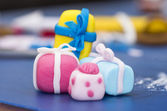 Birthday presents made from fondant — Stock Photo