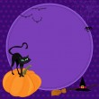 Black cat on a pumpkin. Halloween Illustration. — Stock Vector #51822721