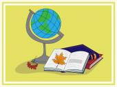 Books and globe. — Stock Vector