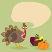 Thanksgiving Turkey with Sign - Illustration — Stock Vector