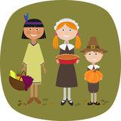 Thanksgiving Kids - Illustration — Stock Vector