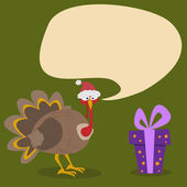 Turkey with Santa Hat & Gift - Illustration — Vector de stock