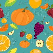 Autumn Fruits Seamless Pattern - Illustration — Stock Vector