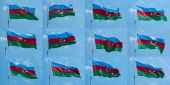 The national flag of the Republic of Azerbaijan — Stock Photo