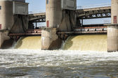 Water discharge at the dam in the spring flood — Stock Photo