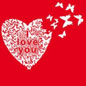 белые бабочки сгибом сердце на красном фоне — Cтоковый вектор