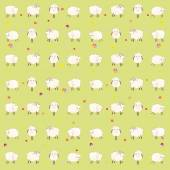 Wallpaper with lambs on a green background — Stock Vector