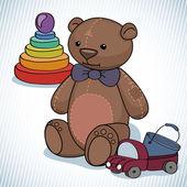 Teddy bear with pyramid and machine — ストックベクタ