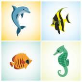 4 marine life on a colorful background — ストックベクタ