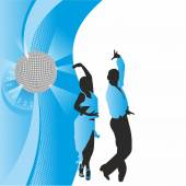 Dancing couple on the background of the ball — Stock Photo