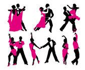 Vector set of six dancing couples — Stock Vector