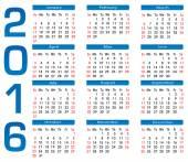 Square calendar 2016 — Stock Vector