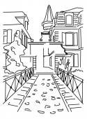 Black outline of a small quiet street — Stock Vector
