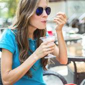 Mulher de café — Fotografia Stock