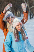 Funny friends have fun outdoors in winter — Stock Photo