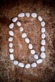 '0' number alphabet made form white stone — Stock Photo