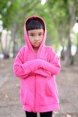 Asian kid portrait in the garden — Stock Photo