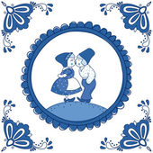 Dutch Delft blue tile with a kissing couple — Vector de stock