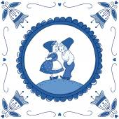 Dutch Delft blue tile with a kissing couple — Stock Vector