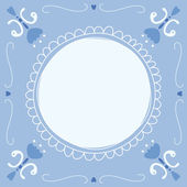 Dutch Delft blue tile with a place for a text or picture — Stock Vector