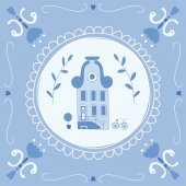 Delft blue tile with a typical Dutch house — Stock Vector