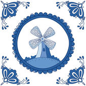 Dutch Delft blue tile with a mill — Stock Vector