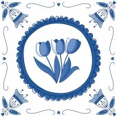 Dutch Delft blue tile with tulips — Stock Vector