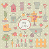 Hand drawn garden set — Vector de stock