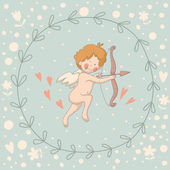 Illustration of Cupid in a wreath — Vetorial Stock