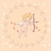 Illustration of Cupid in a wreath — Stock Vector