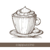 Hand drawn illustration of a cup of cappuccino — Stock Vector