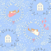 Seamless pattern with Christmas angels and homes — Wektor stockowy