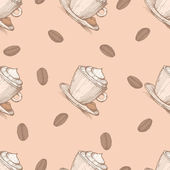 Seamless pattern with coffee beans and cappuccino — Stock Vector