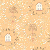 Seamless pattern with a sweet little house and an orange tree — Stock Vector