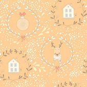 Seamless Christmas pattern with a reindeer — Stock Vector