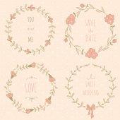 Set of wedding wreaths — Stock Vector