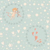 Seamless pattern with Cupid in a wreath — Vetorial Stock
