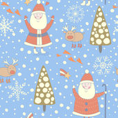 Seamless Christmas pattern with Santa and a reindeer — Stock Vector