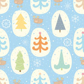 Seamless pattern with Christmas trees and reindeer — Stockvektor