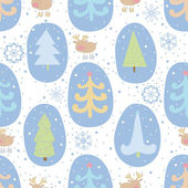 Seamless pattern with Christmas trees and reindeer — Vetorial Stock