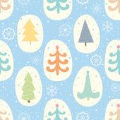 Patrones sin fisuras con los árboles de navidad y copos de nieve — Vector de stock