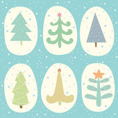 Set of doodle Christmas trees — Stock Vector