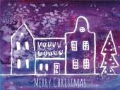 Watercolor Christmas greeting card with houses — Stock Vector