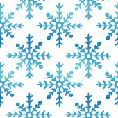 Seamless watercolor pattern with snowflakes — Stock Vector