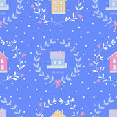 Seamless Christmas pattern with cute homes — Stock Vector