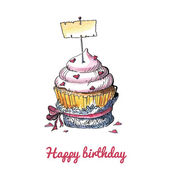 Watercolor birthday card with a cute cupcake — Vettoriale Stock
