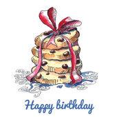 Watercolor birthday card — Vettoriale Stock