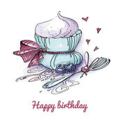 Watercolor birthday card with a cute cupcake — Vector de stock