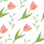 Watercolor seamless pattern with tulips — Stock Vector
