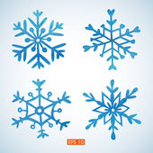Set of watercolor snowflakes — Stock Vector